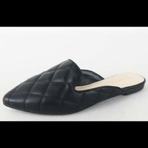 Black Quilted Mules - Faux Leather - Pointed Toe